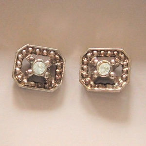 Gold/Silver Tone Frosted Sparkle Pierced Earrings